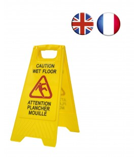 "Señal aviso ""Caution wet floor - Attention plancher mouillé"". En inglés y francés."
