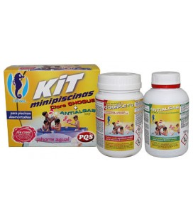 Kit minipiscinas Cloro 500 gr y Antialgas 500 ml.