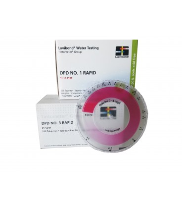 Kit Colorimetro Disco Cl 0-4 ppm. Tableta DPD1 y DPD3